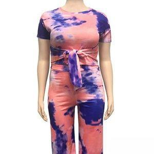 Splatter painted two-piece pants set